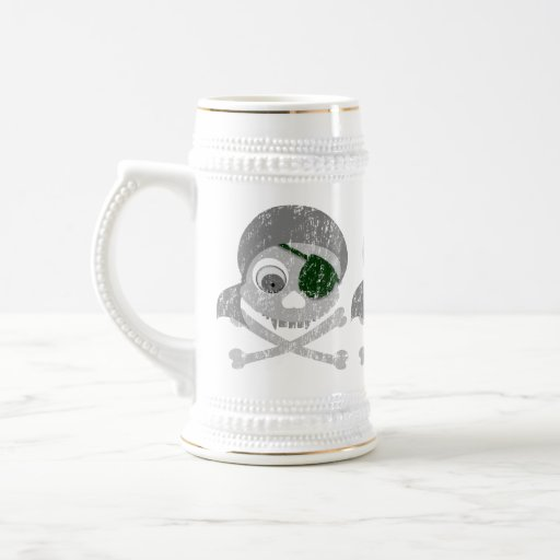 Gray Pirate Skull Distressed Steins
