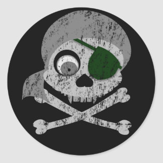 Gray Pirate Skull Distressed Stickers