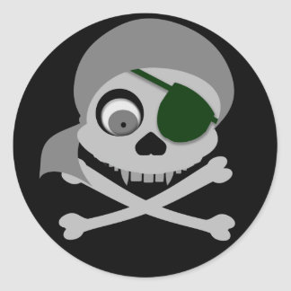 Gray Pirate Skull Stickers