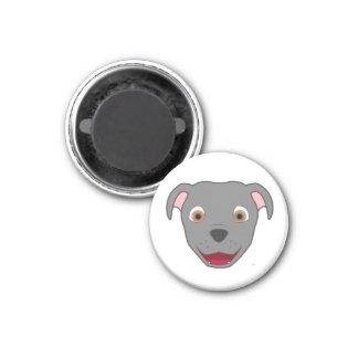 Gray Pitbull 1 Inch Round Magnet