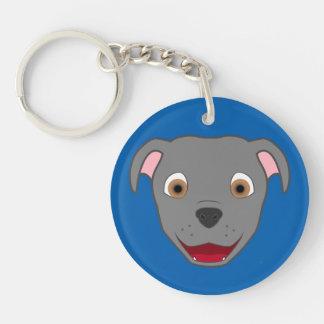 Gray Pitbull Face Keychain