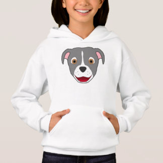 Gray Pitbull Face with White Blaze Hoodie
