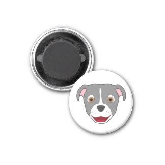 Gray Pitbull with Blaze 1 Inch Round Magnet