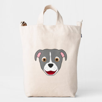 Gray Pitbull with Blaze Duck Bag