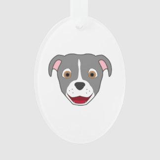 Gray Pitbull with Blaze Ornament