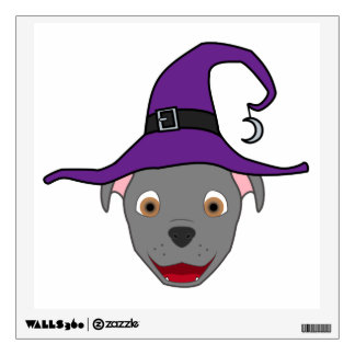 Gray Pitbull with Witch Hat Wall Decal