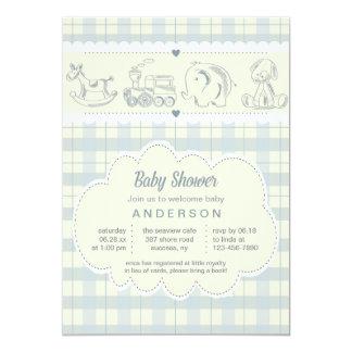Gray Plaid Baby Shower Invitation