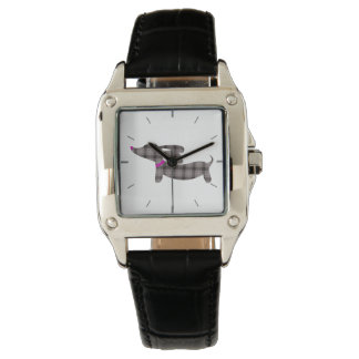 Gray Plaid Dachshund Leather Band Square Watch