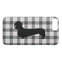 Gray Plaid Dachshund Pattern Preppy iPhone 8 Plus/7 Plus Case