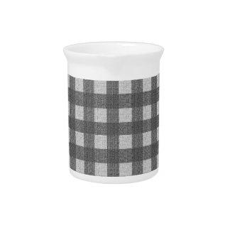 Gray plaid pattern beverage pitcher