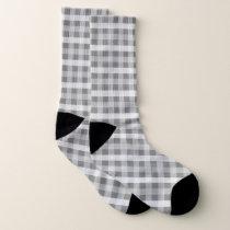 Gray Plaid Patterned Socks