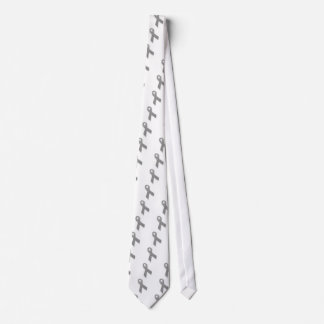 Gray Political Statement Awareness Ribbon Neck Tie