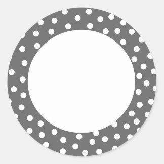 Gray Polka Dot Label Classic Round Sticker