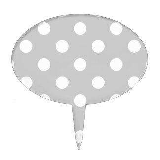 Gray Polka Dot Pattern Cake Topper
