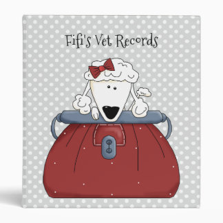 Gray Polka Dot Poodle Vet Records Binder