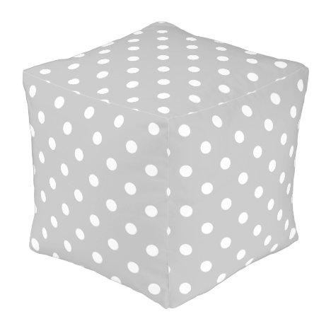 Gray Polka Dot Pouf