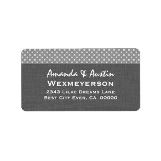 Gray Polka Dot Wedding Collection A2 Address Label