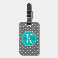 Gray Polka Dot with Teal Monogram Tag For Bags