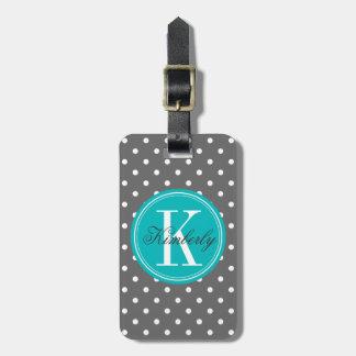 Gray Polka Dot with Teal Monogram Tag For Luggage
