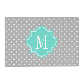 Gray Polka Dot with Turquoise Monogram Placemat