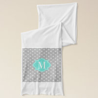 Gray Polka Dot with Turquoise Monogram Scarf