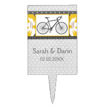 gray polka dots bicycle personalized cake pick