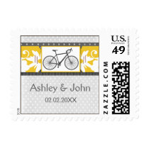 gray polka dots bicycle wedding stamps
