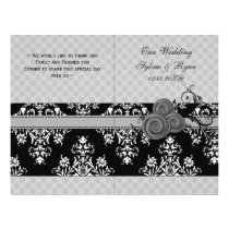 gray polka dots floral book fold Wedding program
