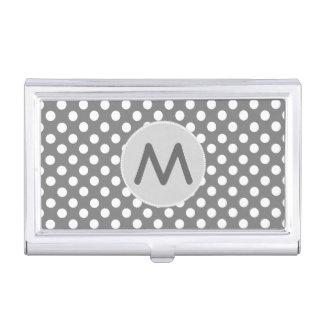 Gray Polka Dots Monogram Business Card Case