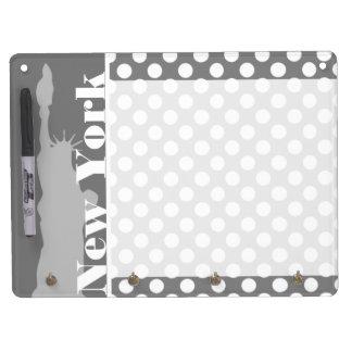 Gray Polka Dots New York Dry Erase Board