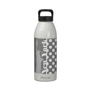 Gray Polka Dots; New York Reusable Water Bottle