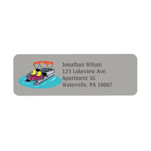 Gray Pontoon Boat Return Address Labels