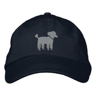 Gray Poodle Dog Logo Embroidered Baseball Caps