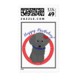Gray Poodle Happy Birthday Postage Stamps