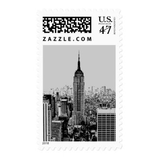 Gray Pop Art Empire State Building Postage