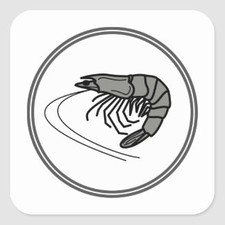 Gray Prawn - Fish Prawn Crab Collection Square Sticker