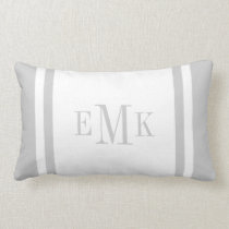 Gray Preppy Ribbon Dots Custom Monogram Lumbar Pillow
