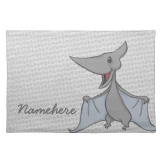 Gray Pteredon Dinosaur Placemat with Custom Name