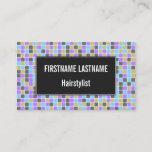 [ Thumbnail: Gray, Purple, Beige, Blue Squares/Tiles Pattern Card ]