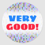 [ Thumbnail: Gray, Purple, Beige, Blue Squares/Tiles Pattern Round Sticker ]