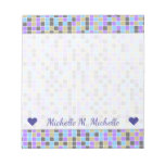 [ Thumbnail: Gray, Purple, Beige, Blue Squares/Tiles Pattern Notepad ]