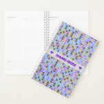 "Gray, Purple, Beige, Blue Squares/Tiles Pattern Planner<br><div class=""desc"">This planner design features a grid-like abstract pattern of squares or tiles colored shades of colors like gray, purple, beige and blue. The front also features a customized name between two heart shapes in purple-colored text, within a hazy light gray colored area. A planner like this might make a great...</div>"