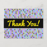 [ Thumbnail: Gray, Purple, Beige, Blue Squares/Tiles Pattern Postcard ]