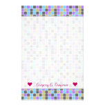[ Thumbnail: Gray, Purple, Beige, Blue Squares/Tiles Pattern Stationery ]