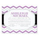 Gray & Purple Chevron Wedding Reception ONLY 4.25x5.5 Paper Invitation Card