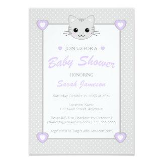 Gray Purple Neutral Cute Cat Animal Baby Shower 5x7 Paper Invitation Card