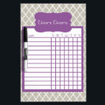 "Gray &amp; Purple Quatrefoil Chore Chart Dry Erase Board<br><div class=""desc"">Gray &amp; Purple Quatrefoil Dry Erase Chore Chart. Attach to the fridge or wall to keep track of the kid&#39;s daily chores. Available in several sizes and other colors.</div>"