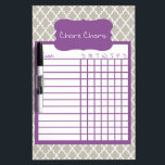"""Gray &amp; Purple Quatrefoil Chore Chart Dry Erase Board<br><div class=""""desc"""">Gray &amp; Purple Quatrefoil Dry Erase Chore Chart. Attach to the fridge or wall to keep track of the kid&#39;s daily chores. Available in several sizes and other colors.</div>"""