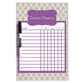 Gray & Purple Quatrefoil Chore Chart Dry Erase Boards