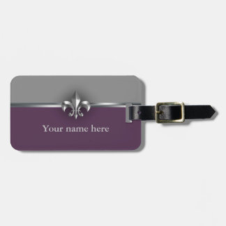 Gray Purple Silver Fleur de Lis Luggage Tag